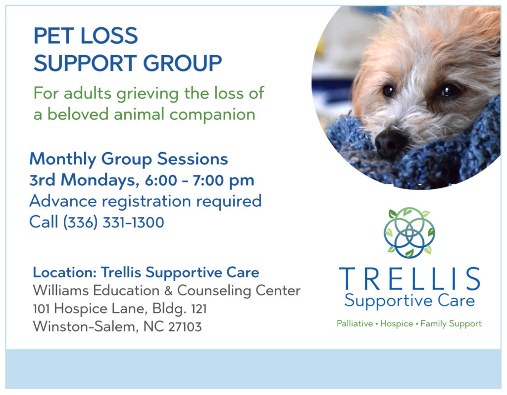 Graphic with information about the Trellis Pet Loss Support Group.